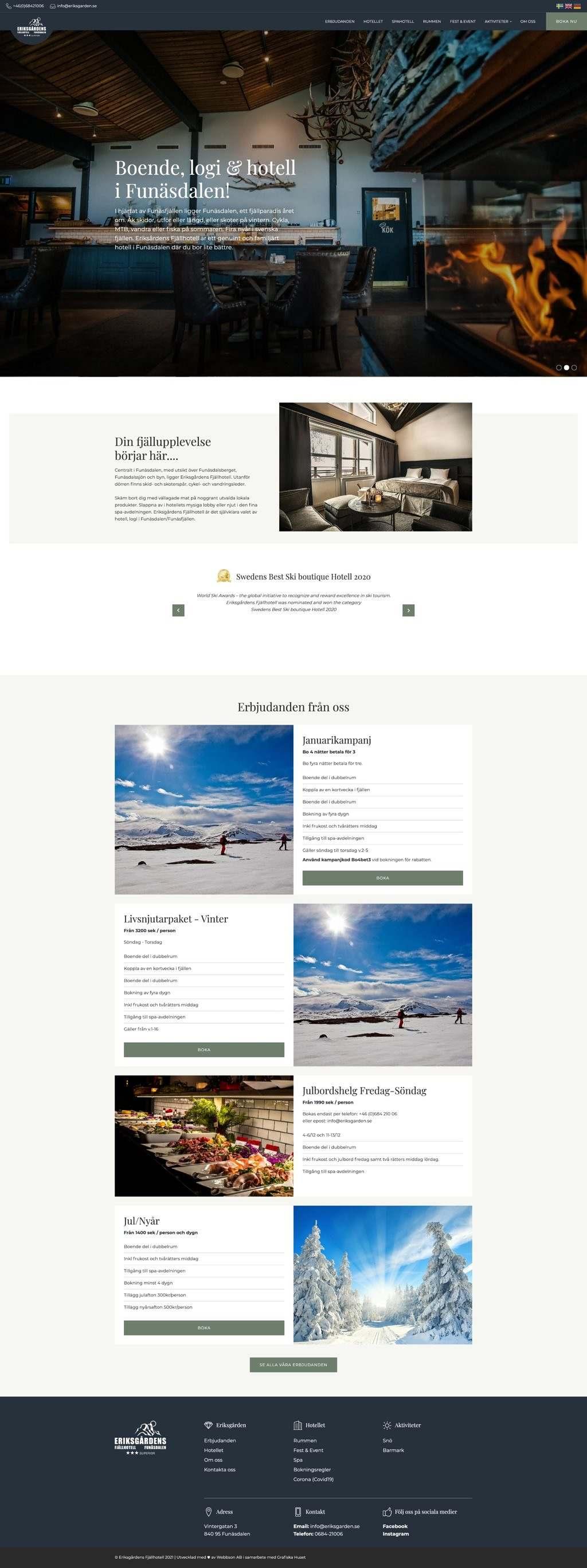 Mobilanpassad hemsida till Eriksgårdens fjällhotell i Funäsdalen