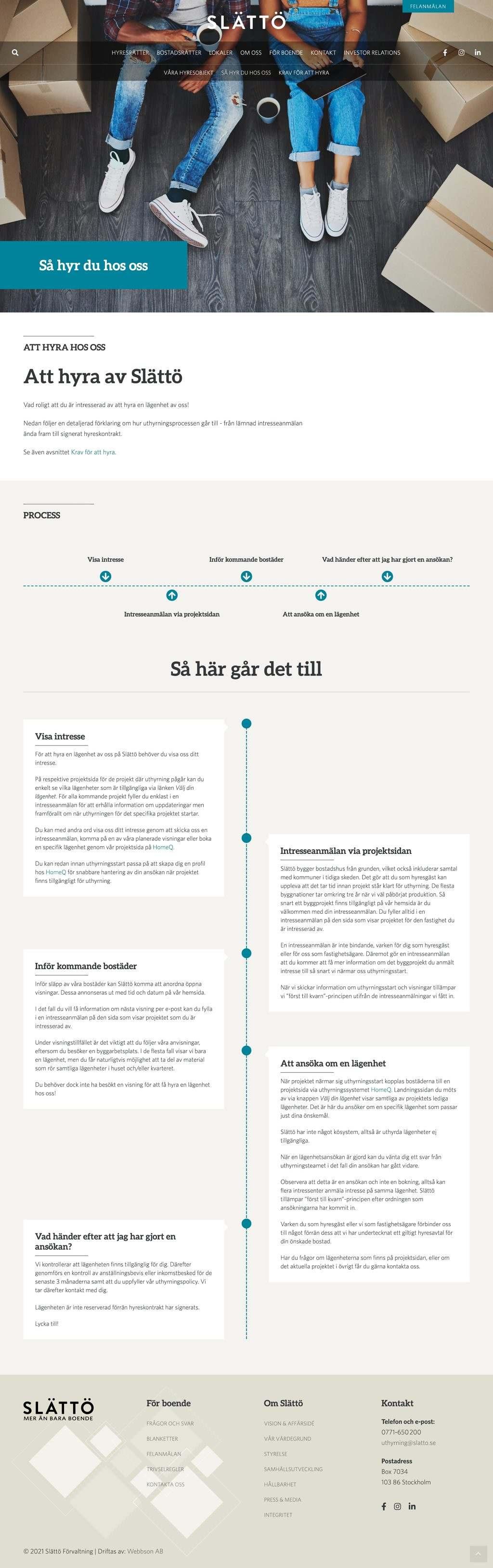 Webbson AB bygger en mobilanpassad hemsida till Slättö förvaltning i Stockholm